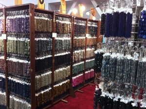 Shopping for stones, booth